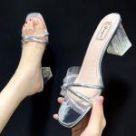 Sandal Heels Transparan Asli Impor 157
