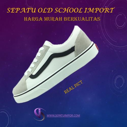 Sepatu Old School Import List Hitam