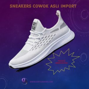 Sneakers Cowok Import Warna Putih